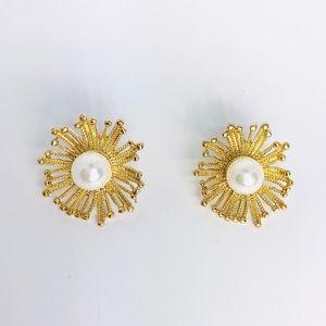 New! Gold Flower Faux Pearl Studs Earrings